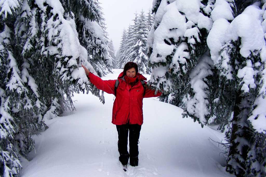 wycieczka w Karnonosze zimą, nad Jagniątkowem